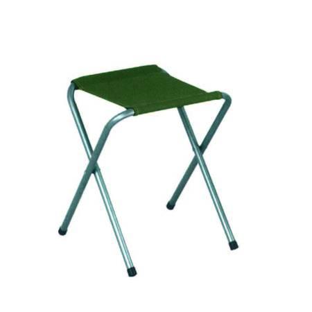 SGABELLO ACCIAIO SENZA SCHIENALE PIEGHEVOLE struttura tubolare ø cm.1,8 - tessuto in colore verde PRESTAGIONALE PRIMAVERA