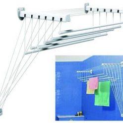 """STENDIBIANCHERIA """"LIFT"""" da parete e soffitto con 6 barre resistenti - le barre XXL evitano le pieghe sui capi asciutti - inclusa asticella saliscendi PROMO GIMI"""