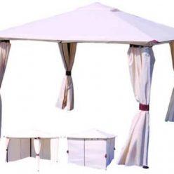 GAZEBO IN METALLO CON CHIUSURE LATERALIcm.300x300 - colore beige -