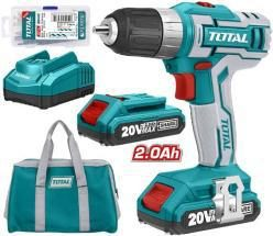 TOTAL TRAPANO CORDLESS LITIO 20V +2 BATTERIE + CARICATORE + BORSA
